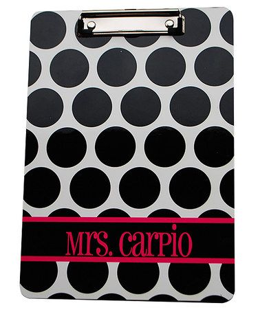 Another great find on #zulily! Black & Pink Polka Dot Personalized Clipboard #zulilyfinds