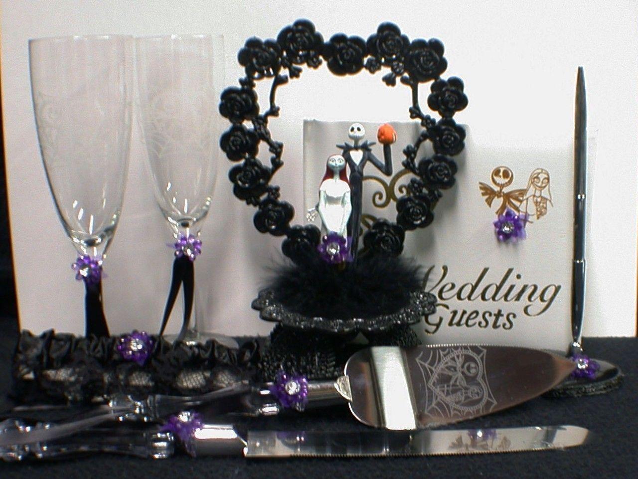 Nightmare before Christmas Wedding Cake topper Lot Glasses Knife ...