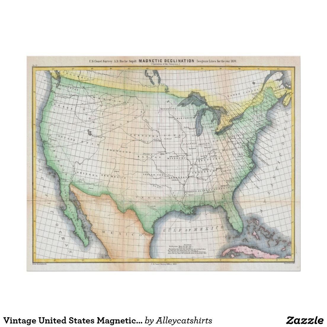 Vintage United States Magnetic Declination Map Poster | Vintage Map ...