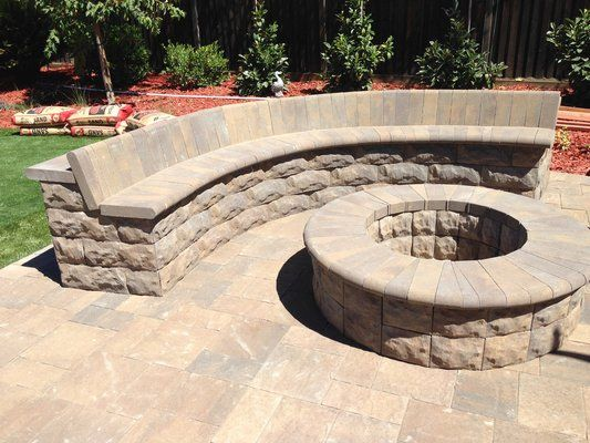 belgard belair stone fire pit sitting wall with bull nose rh pinterest com