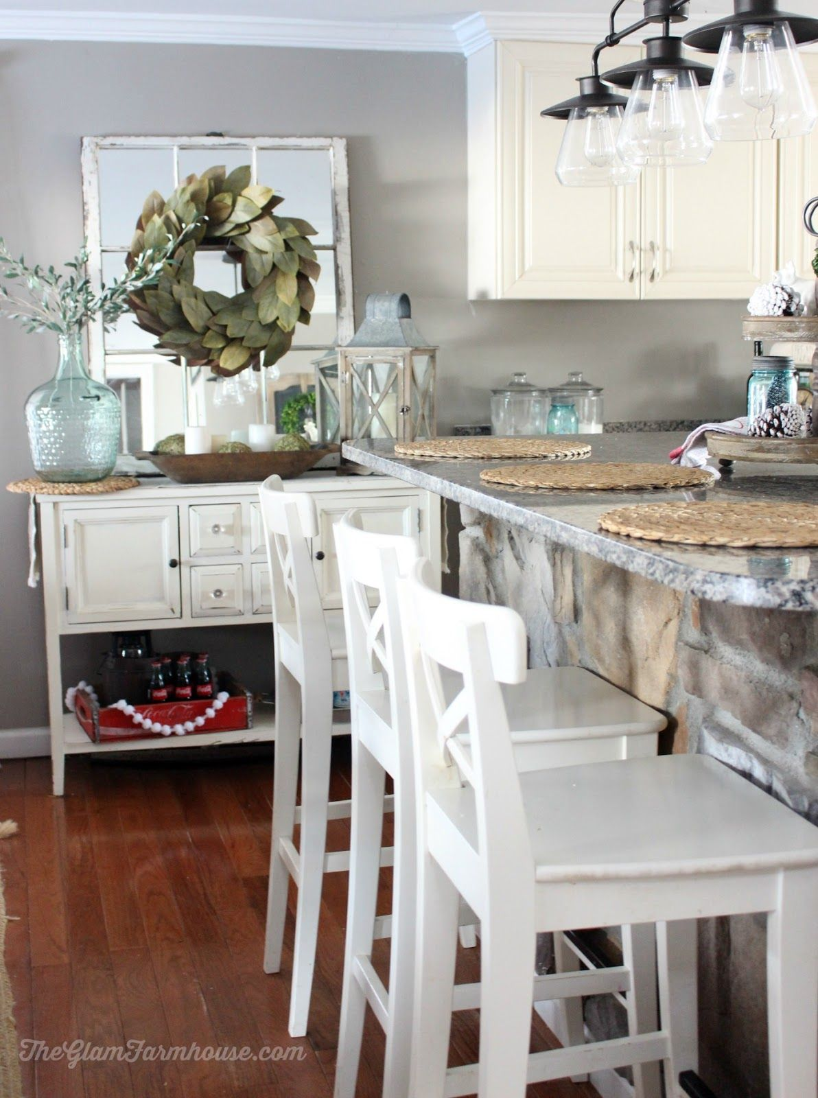 The Glam Farmhouse Rustic Dining Room Tour With Before Afters Wall Color