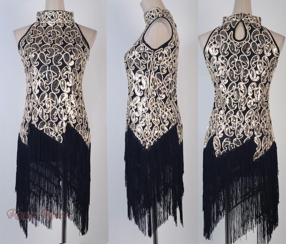 1920\'s Flapper Black Dress Sexy Clubwear Great Gatsby Sequin ...