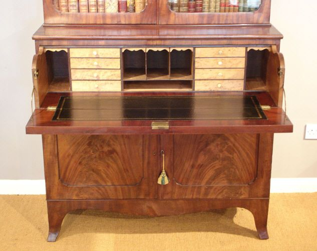 Antique mahogany secretaire bookcase bureau and secretaire