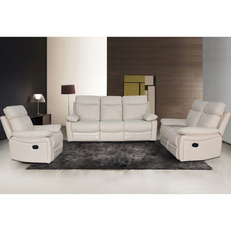 foot rests for living room%0A Christies Home Living Ryker Collection   Piece Leather Living Room Sofa Set  Taupe  RYKER