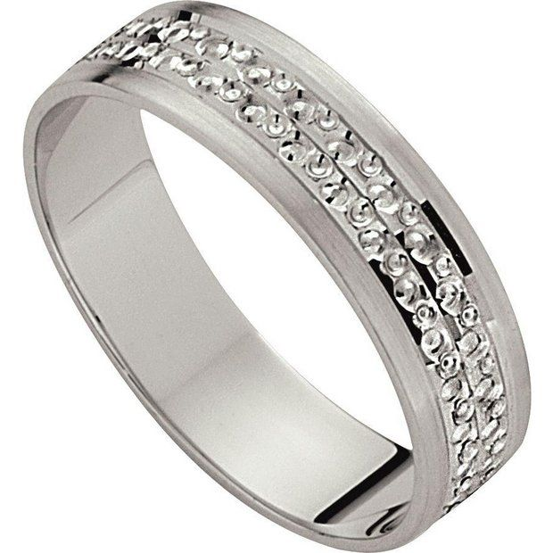 Buy 9ct White Gold Diamond Cut Wedding Ring 5mm at Argoscouk