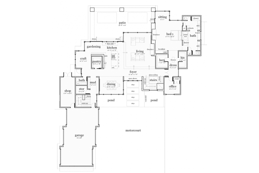 Floor Plan AFLFPW76758 - 2 Story Home Design with 5 BRs and 5 Baths