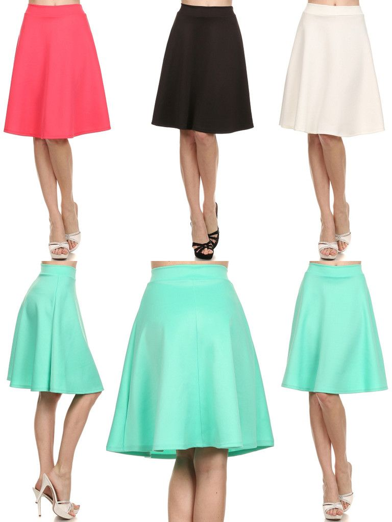 Career Women Solid Plain A-Line Flare Pleated Midi Knee Length ...