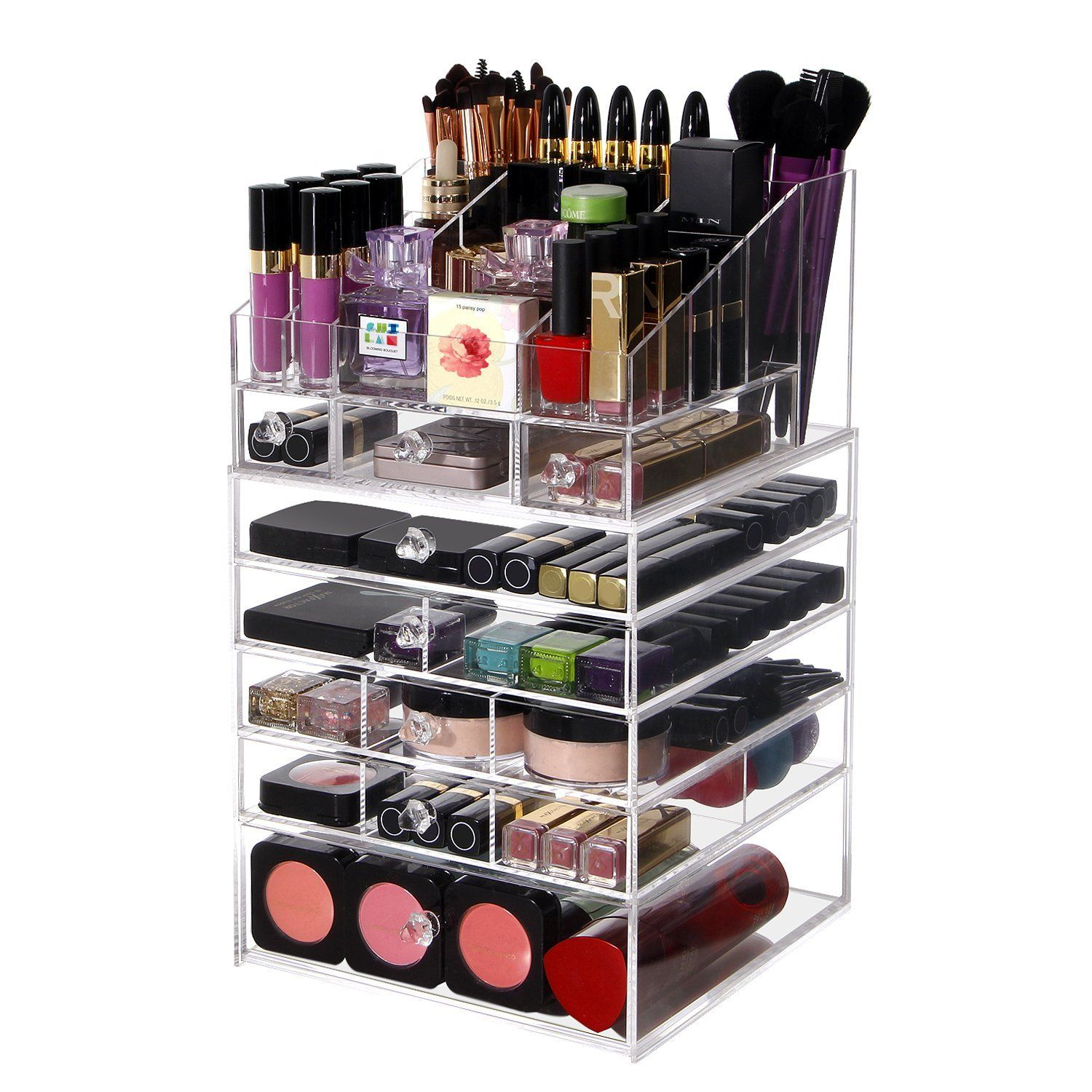 Lifewit Large 6 Tier Drawers Acrylic Makeup Organizer with Top Storage  Tray, Handmade Multi-