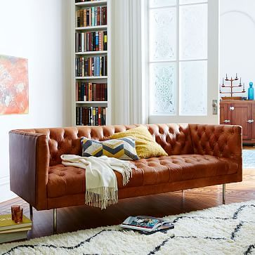 west elm modern chesterfield leather sofa 79 chesterfield rh pinterest com