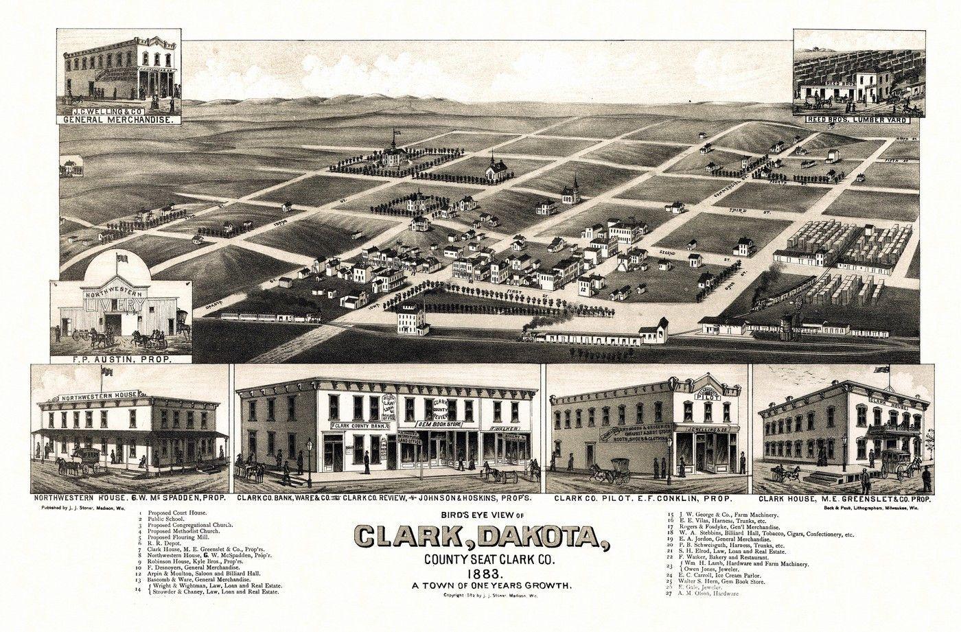 Antique Map of Clark South Dakota 1883