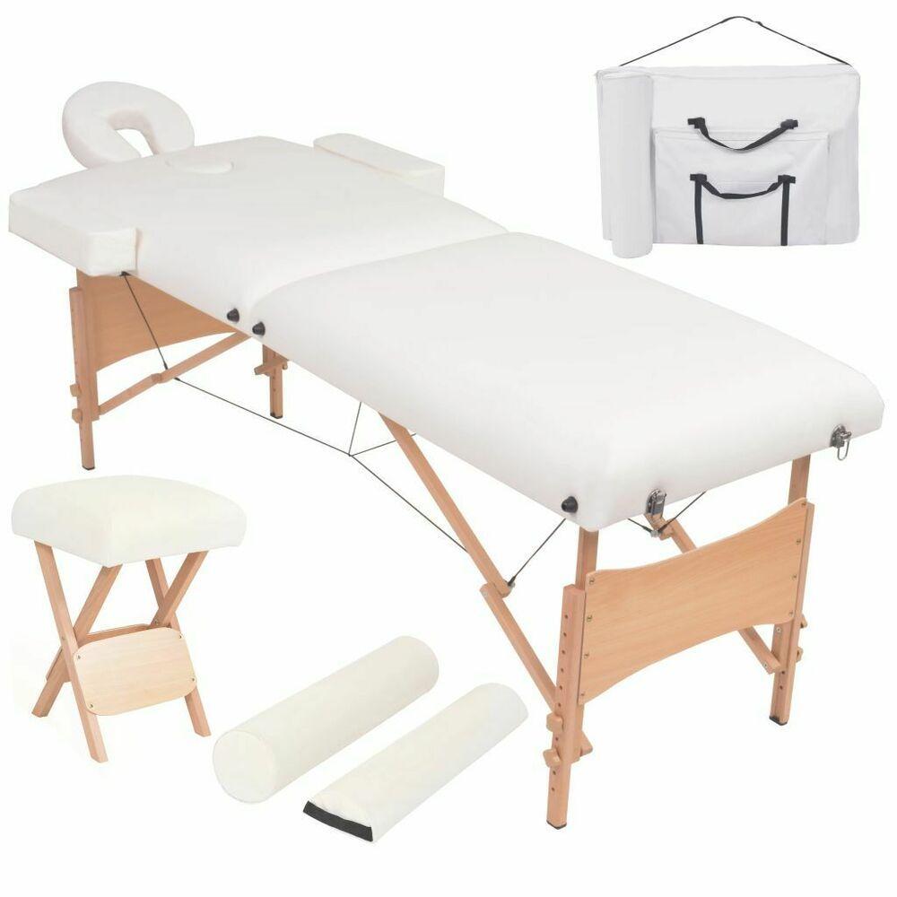 Vidaxl Table De Massage Pliable Et Tabouret Blanc Chaise Lit De Massage Massage Table Salon Furniture Furniture