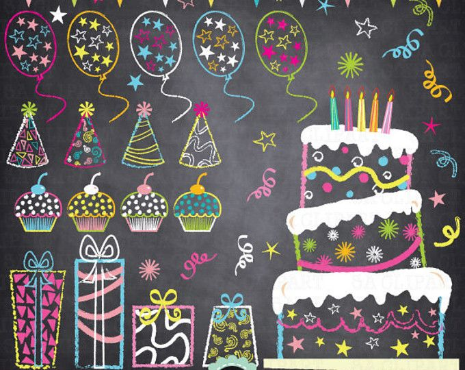 Chalkboard Birthday Party Clip Art,