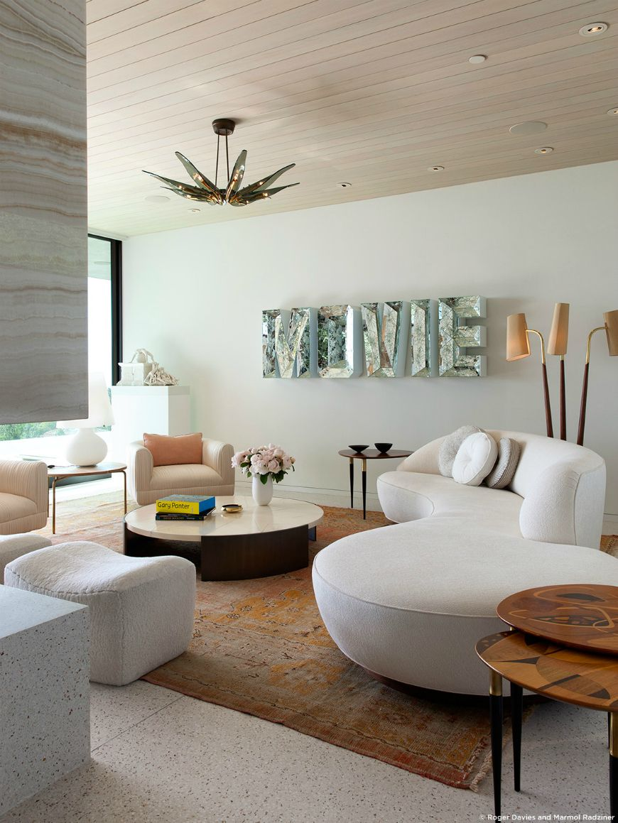 A white sofa is one of the