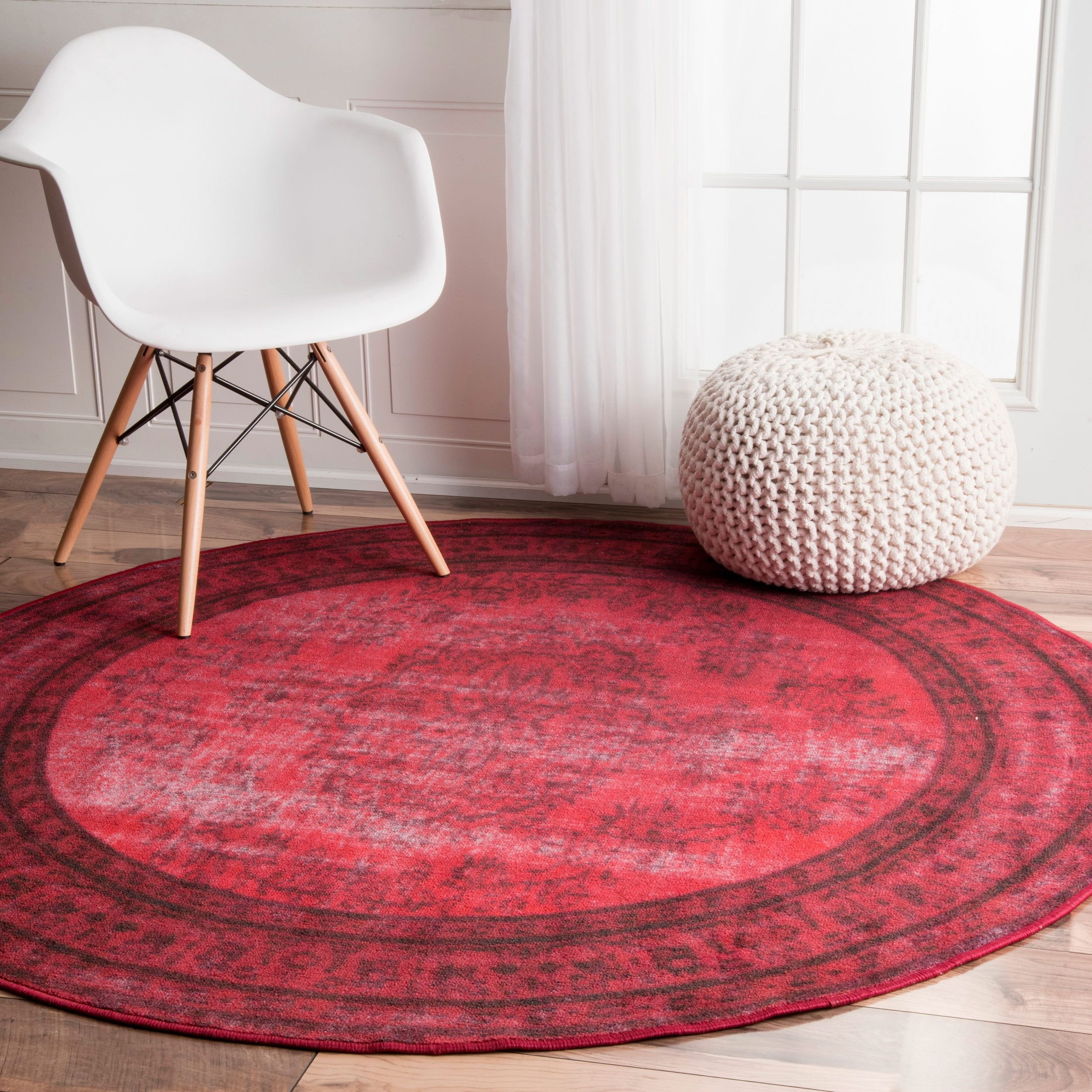 Nuloom Vintage Inspired Fancy Overdyed Red Round Rug 5