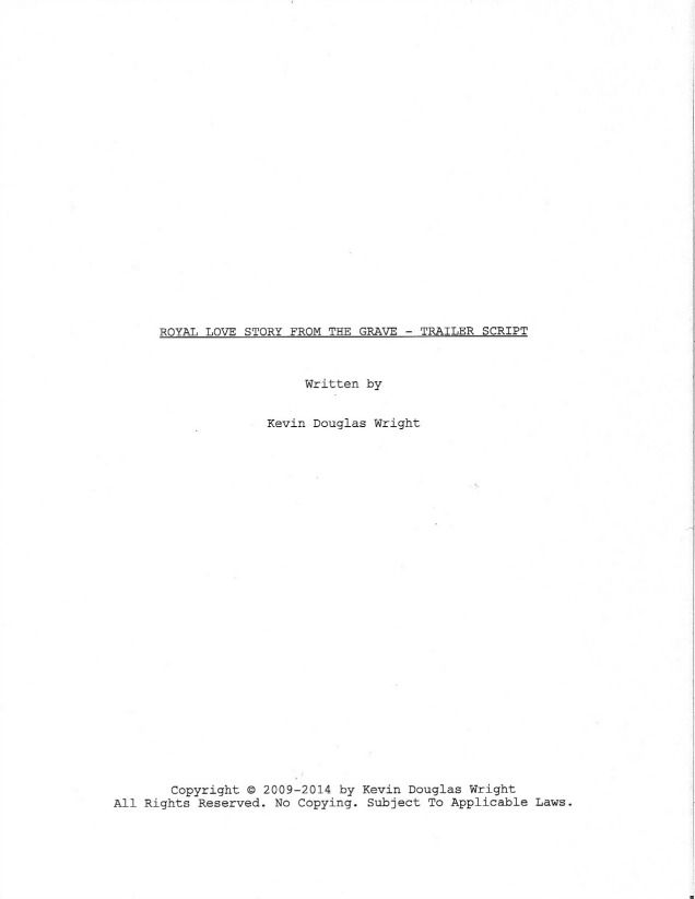 Page  Of Royal Love Story From The Grave  Sample Shooting Script