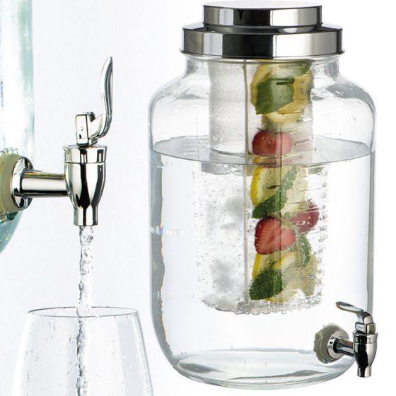 Dispensador de bebida con tanque para hielo o fruta