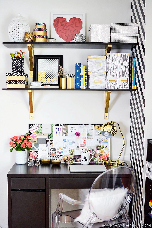 Desk full of DIY decor Work Space