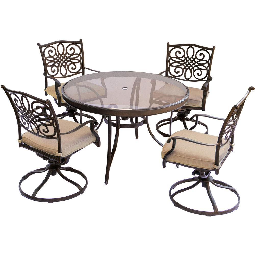 hanover traditions 5 piece aluminum outdoor dining set with round rh pinterest com