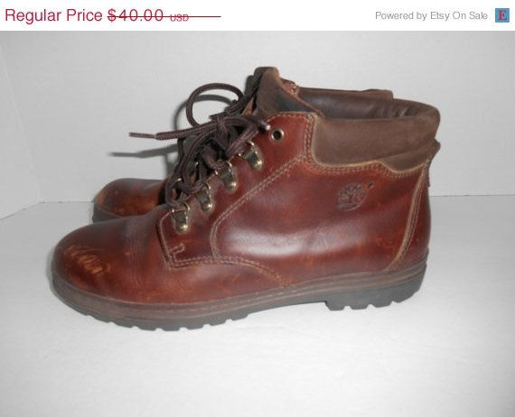 3722e3a1229 Vintage Timberland Leather Lace Up hiking Boots shoes Mens size 8 ...