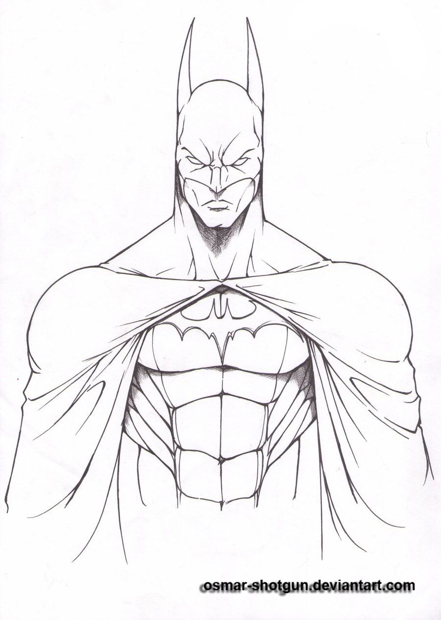Batman drawings batman line art by osmar shotgun fan art for Awesome easy pictures to draw