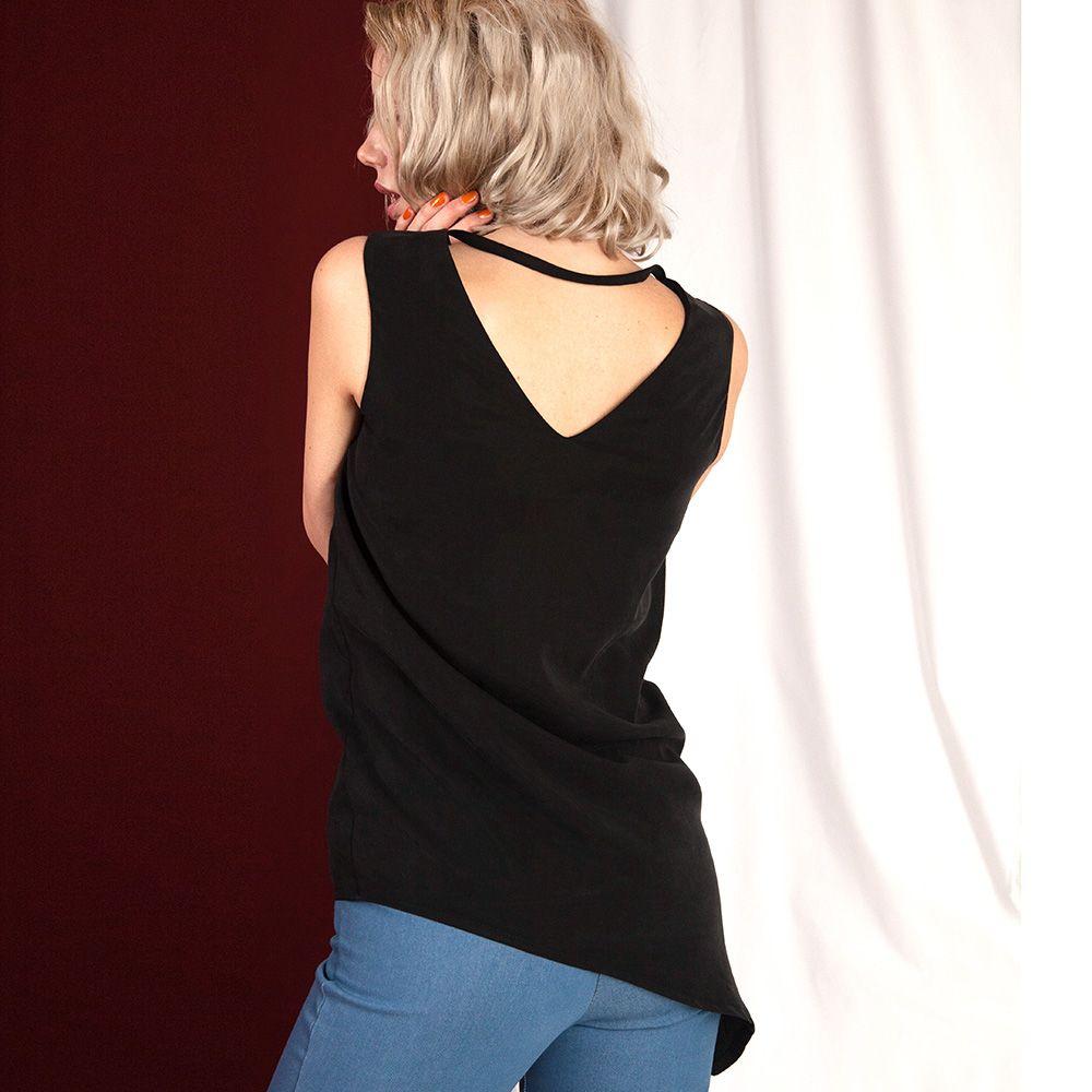 Lassige Asymmetrische Bluse In Schwarz Mit Ruckenausschnitt