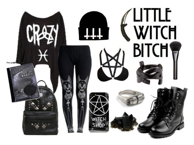 """✝ ╬ ╬ ✝little witchBitch✝ ╬ ╬ ✝"" by goth-dolly ❤ liked on Polyvore featuring Killstar, Coven, Gucci, Yves Saint Laurent, MCM and Rachel Entwistle"