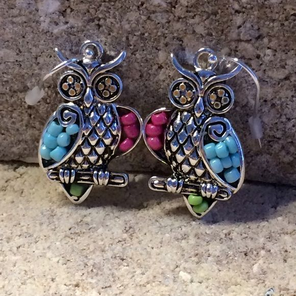 Colorful Owl Design / Earrings Details:	 1 1/8 Inch X 3/4 Inch Owl Design / Metal / Acrylic / Bead - Fish Hook - Lead & Nickel Safe - Gift Packaging Jewelry Earrings