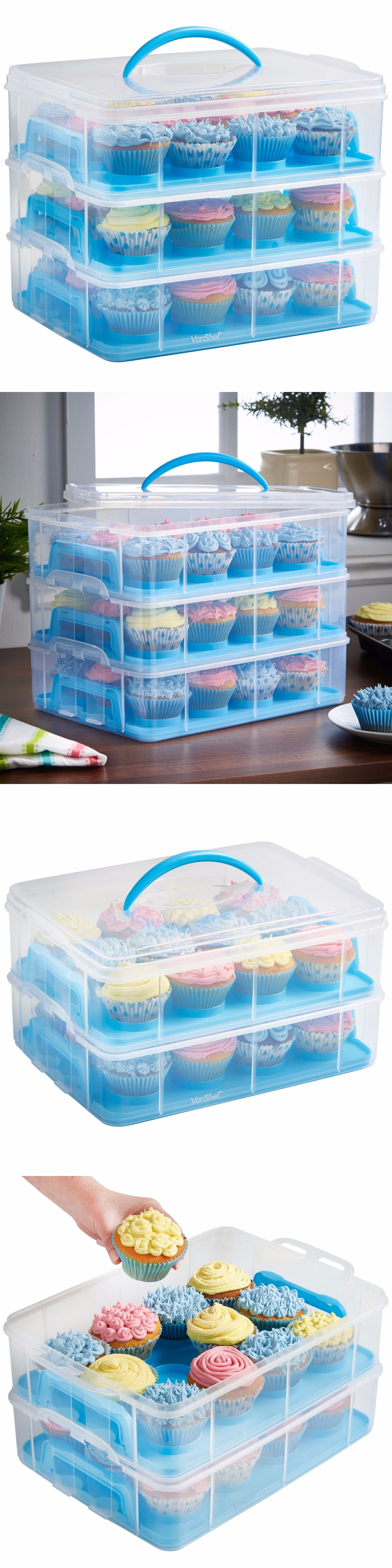 36 Cupcake Carrier Entrancing Food Storage Containers 20655 Vonshef Pink 3 Tier Locking 36 Inspiration