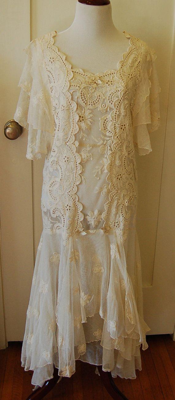 c0100f045560 1920s Ivory Wedding Dress