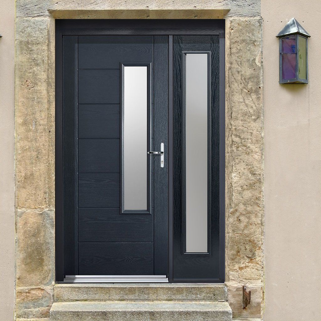 GRP Grey Newbury Glazed Composite Door with Single Sidelight. & GRP Grey Newbury Glazed Composite Door with Single Sidelight ... Pezcame.Com