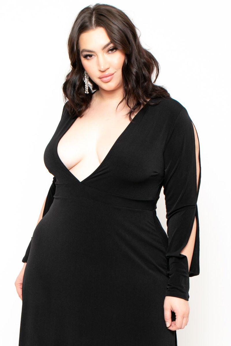 Plus Size Plunging VNeck Maxi Dress Black Black maxi