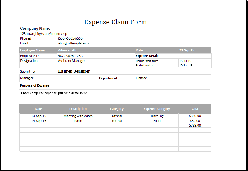 sample expense claim form