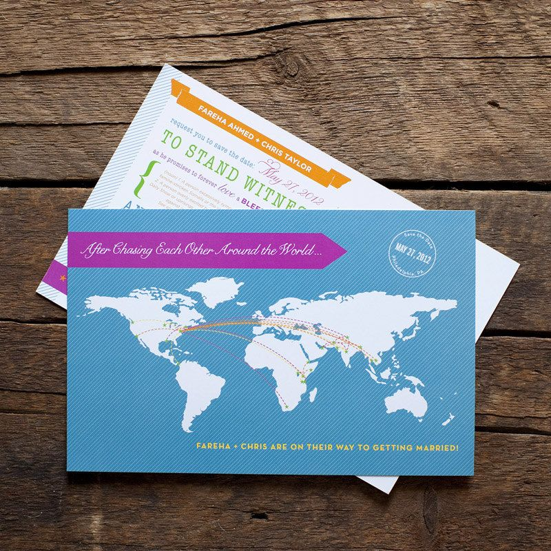 Wedding World Map Save the Date