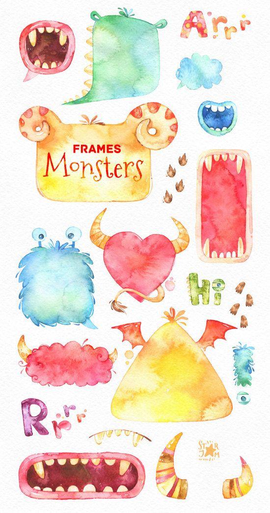 Funny Monsters Frames. Watercolor clip art, speech bubbles ...