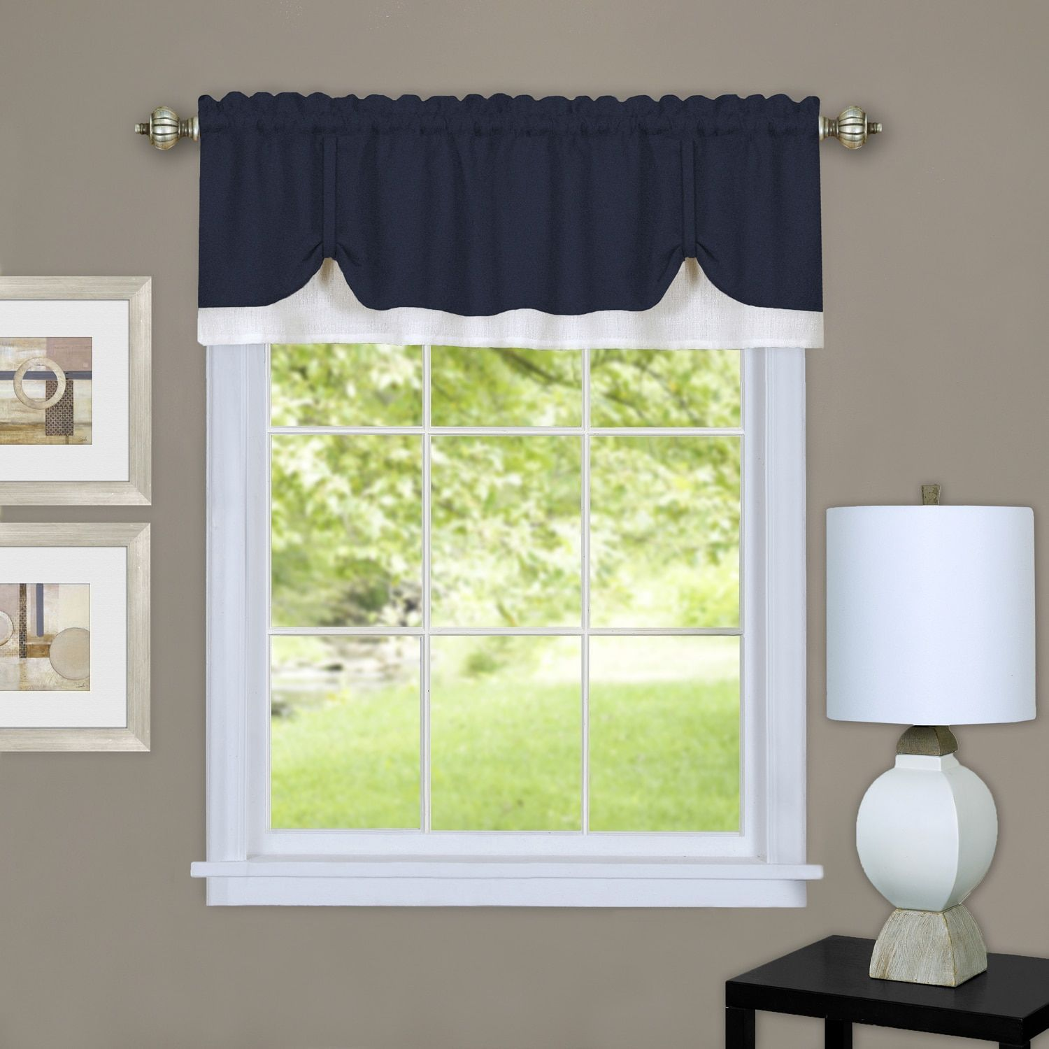 achim darcy window curtain valance 58 x 14 grey white all