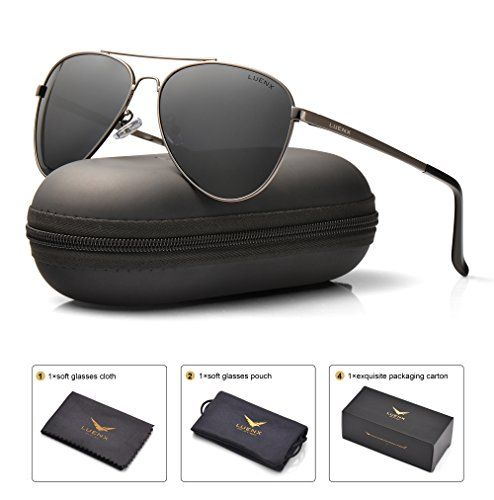 dbe021538e LUENX Mens Aviator Sunglasses Polarized   UV 400 Protection with Case 60MM