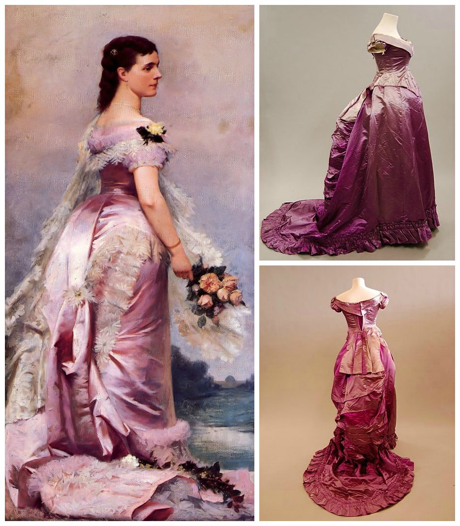 Cerise Pink Satin Ball Gown C 1880 With Long Low Bodice And Trained Skirt From The Wied Colle Historical Fashion Victorian Victorian Fashion Victorian Gown [ 1070 x 935 Pixel ]