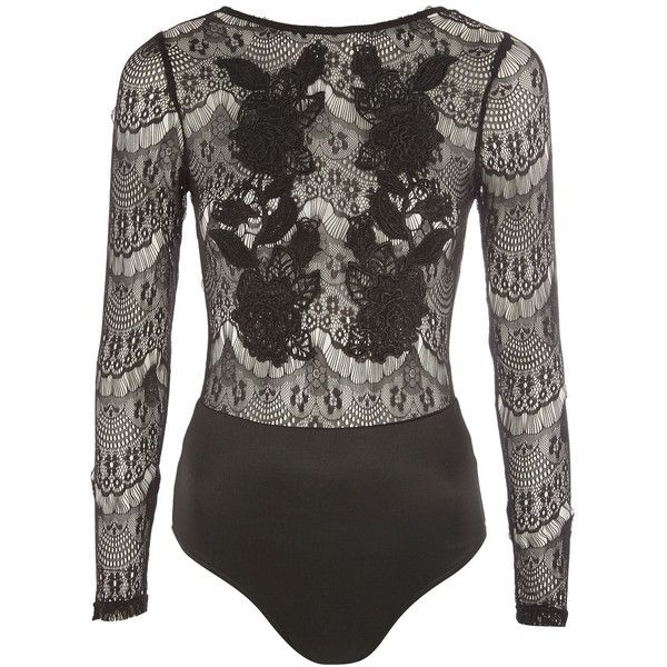 Sheer Lace Bodysuit by Rare (1.150 UYU) ❤ liked on Polyvore featuring  intimates bb5f7bcf2