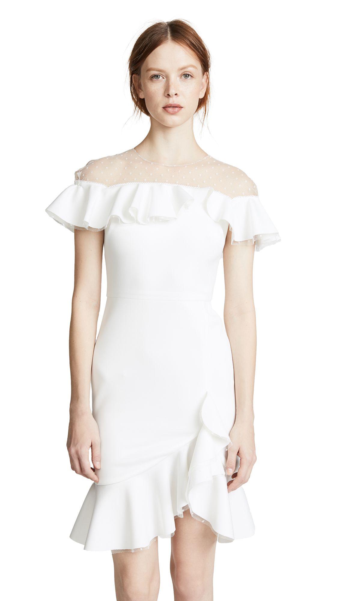 MARCHESA NOTTE NEOPRENE COCKTAIL DRESS WITH POINT D'ESPRIT YOKE & RUFFLES. #marchesanotte #cloth #