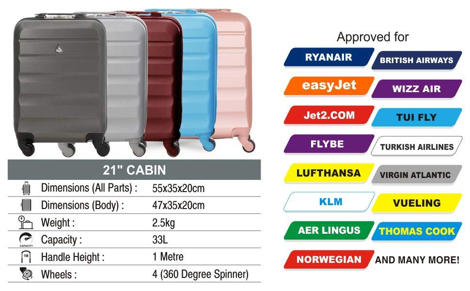Aerolite Super Lightweight Abs Hard Shell Travel Carry On Cabin Hand Luggage Suitcase With 4 Wheels Approved For Ryan British Airways Suitcase Luggage Ryanair