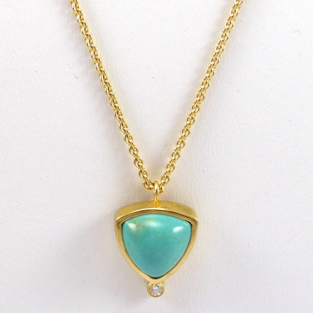 Turquoise diamond and gold necklace turquoise jewerly