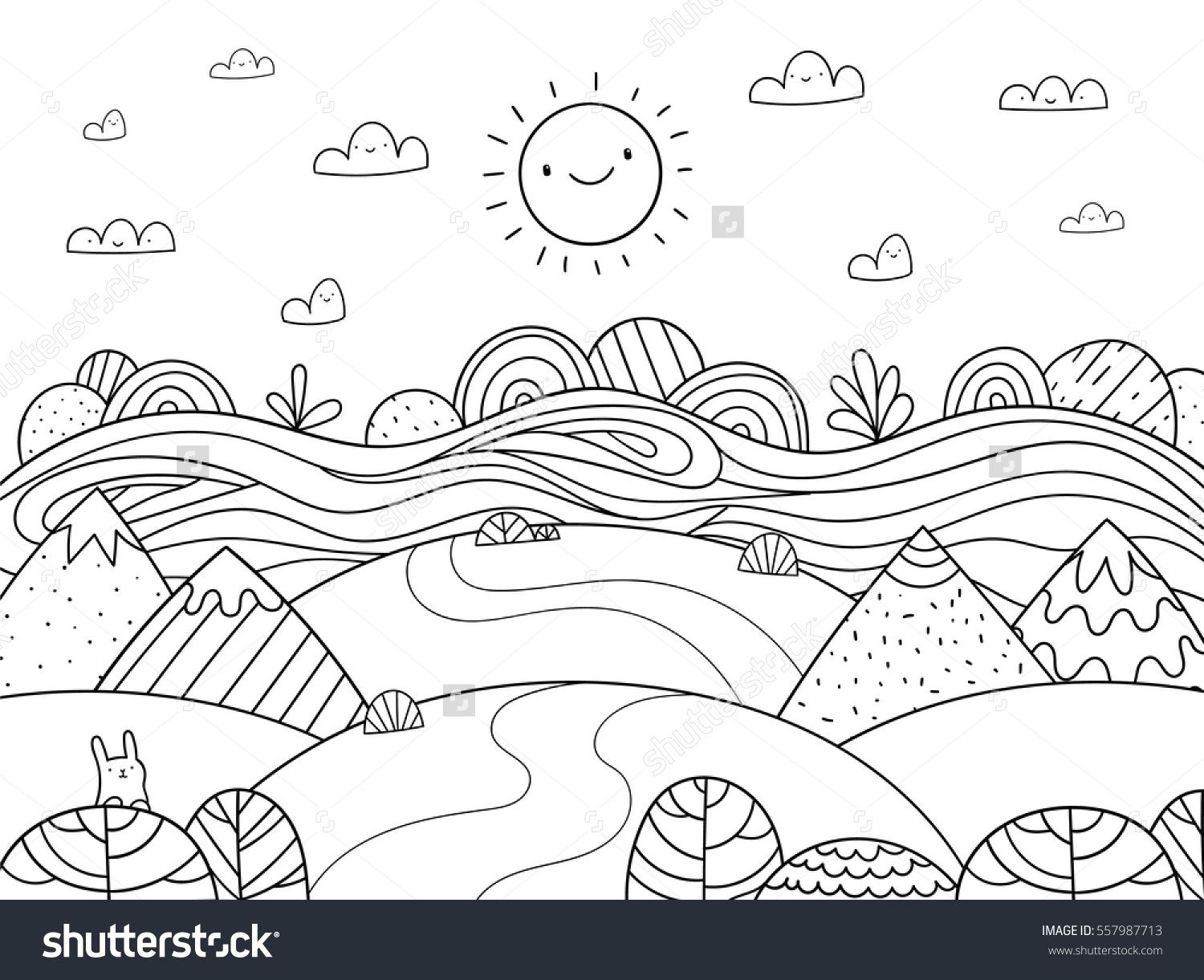 Cute cartoon meadow with mountain, bunny and river. Kids ...