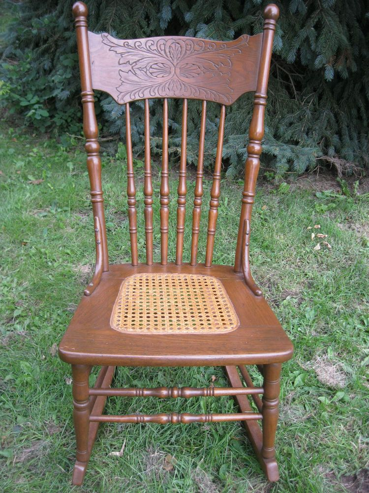 Beautiful Antique Cane Seat Pressed Back Rocking Chair