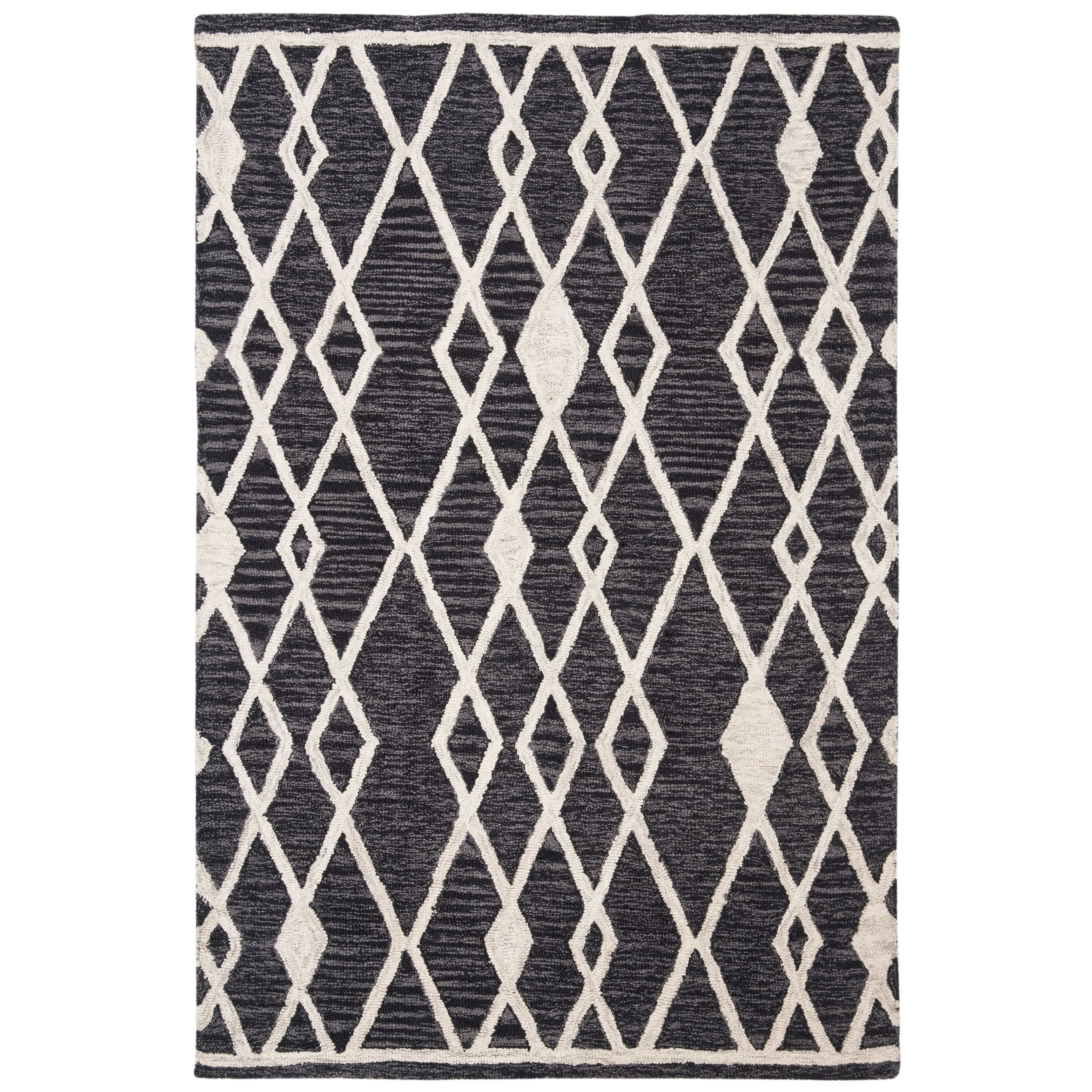 Safavieh Hand Tufted Micro Loop Transitional Geometric Charcoal Ivory Wool Rug 2 6 X 4 Black Wool Rug Rugs Safavieh