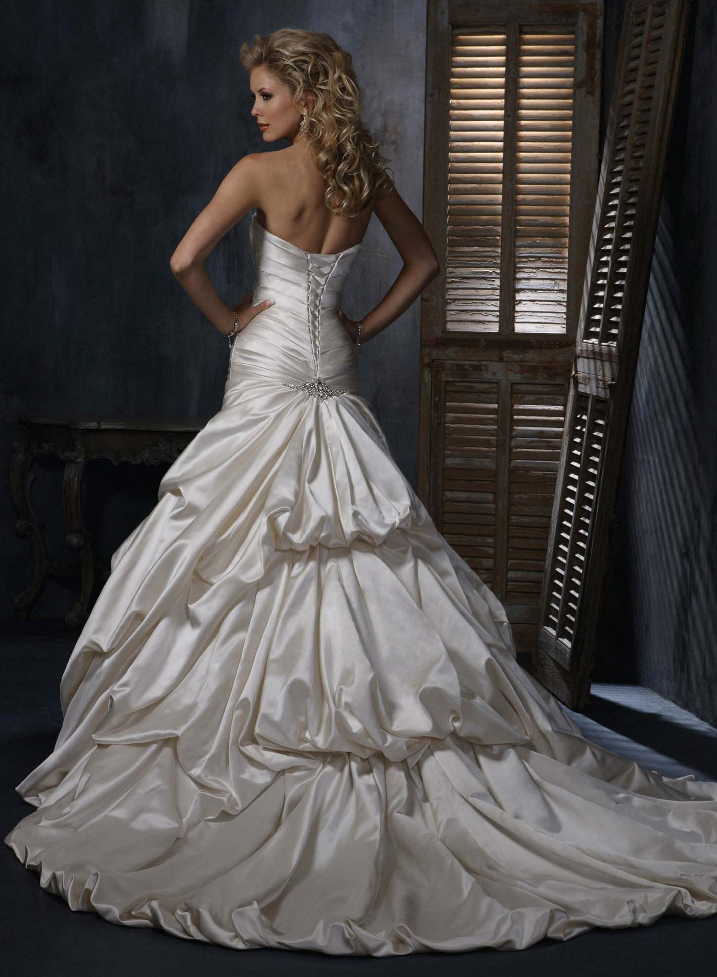 The bustle wedding dresses  Maggie Sottero with my beautiful civil war bustle  Wedding Gowns