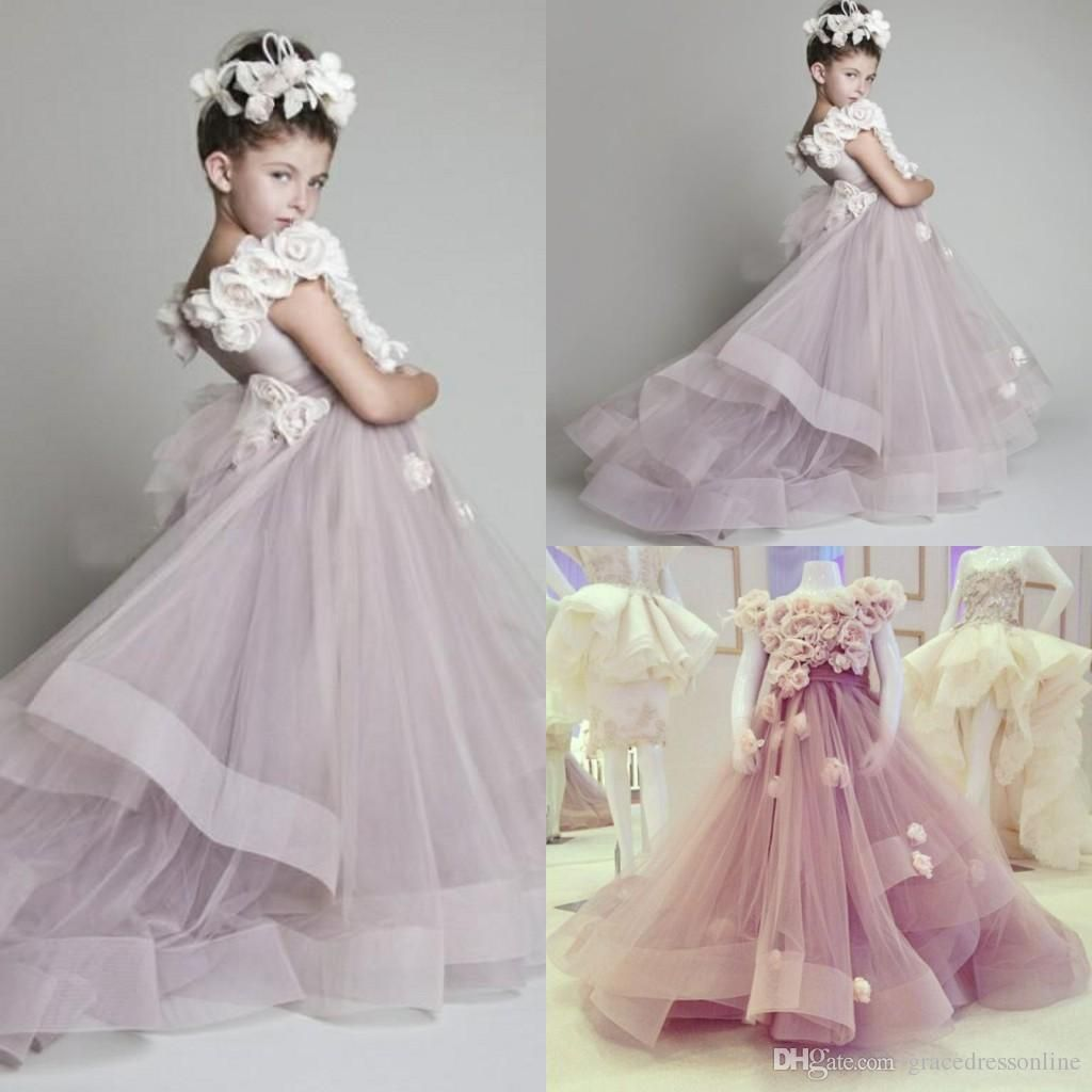 831cfd91fc8 Kids Flower Girl Dresses Lavender Flower Girls Dresses For Weddings Hand  Made Flowers Organza Girls Pageant Dresses Sweep Train Custom Made  Fairytale ...