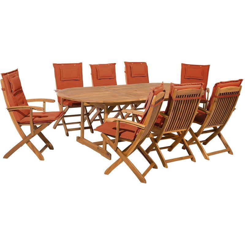 Ensemble de jardin de 8 chaises avec coussin assise rouge ...