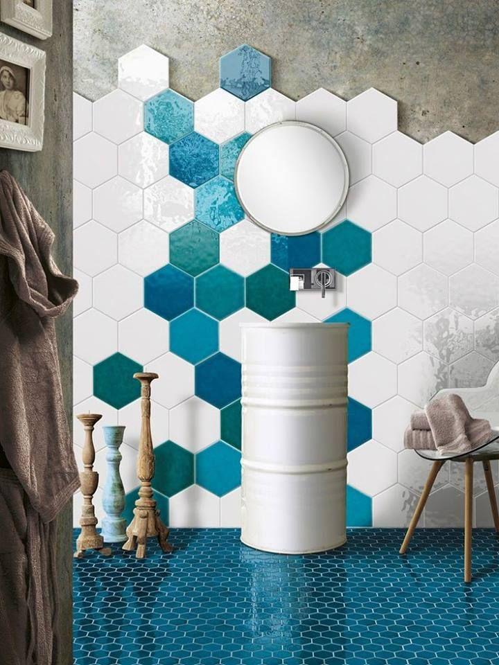 Image result for hexagonal tile toilet blue