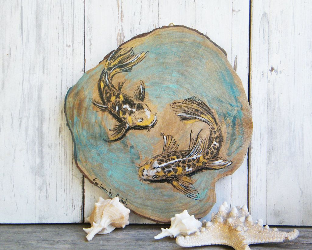 Koi fish print fish wall art pisces art deer decor rustic wall