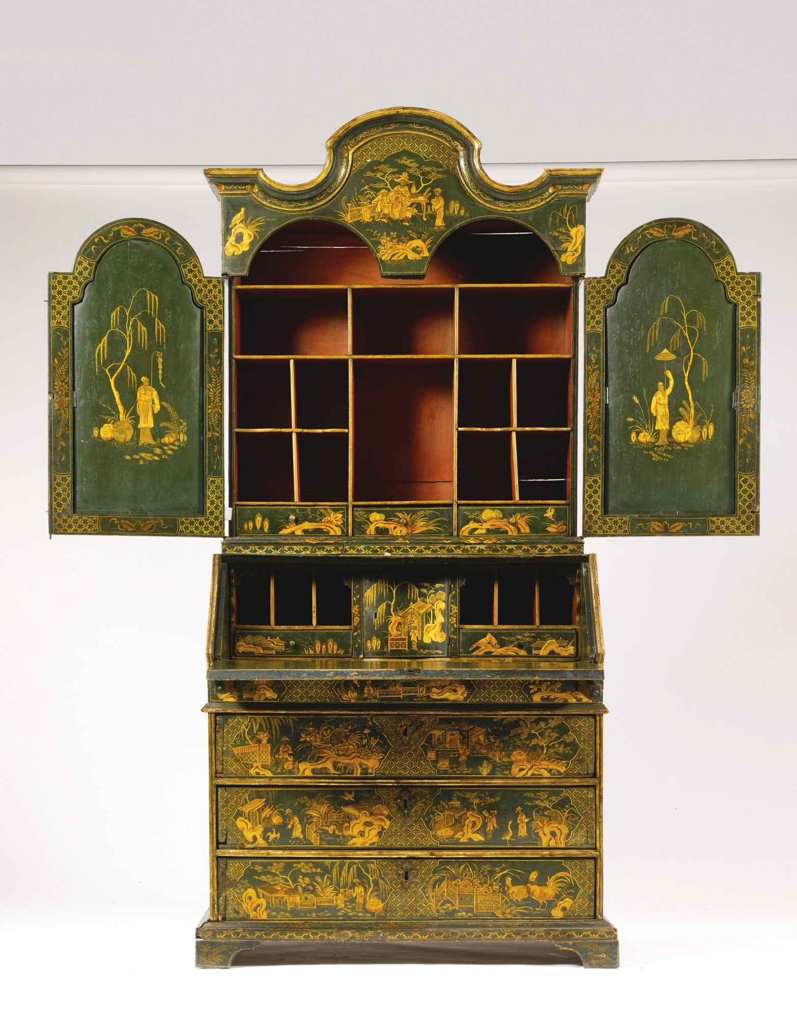 An Italian green and gilt-japanned chinoiserie bureau cabinet, Venetian,  circa 1750 - An Italian Green And Gilt-japanned Chinoiserie Bureau Cabinet